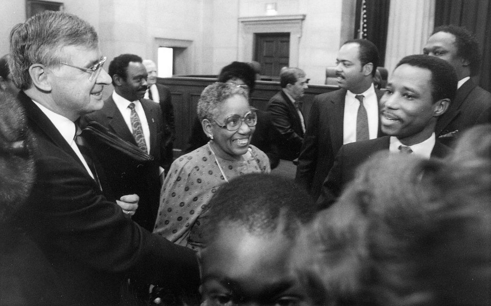 Justice Leroy R. Hassell, Sr. (right), was congratulated by Gov. Gerald L. Baliles after he was sworn in as the newest member of the Supreme Court of Virginia, December 28, 1989. Courtesy of the Richmond Times-Dispatch.