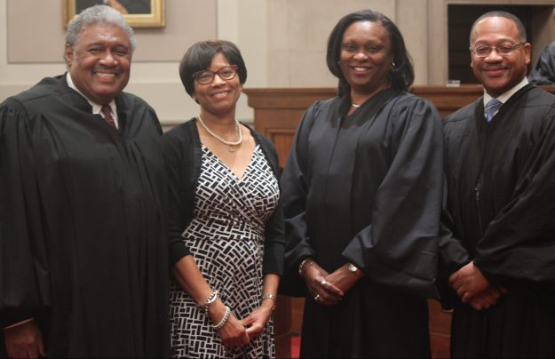 Special Session of the Supreme Court of Virginia commemorating the 75th anniversary of the Old Dominion Bar Association, May 28, 2015. Left to right: Retired Justice John Charles Thomas, Linda Hassell, Justice Cleo E. Powell, and Justice S. Bernard Goodwyn. Photo by Ken Mittendorff, Office of the Executive Secretary.